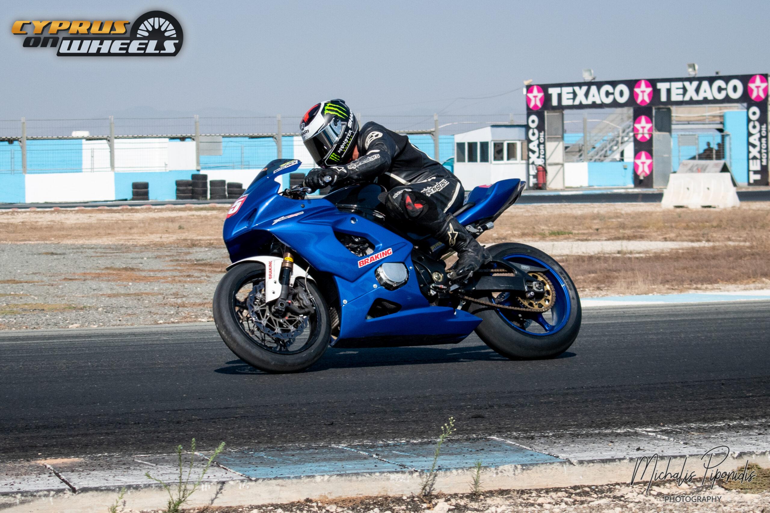blue racing motorcycle